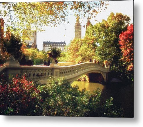 Bow Bridge Metal Print featuring the photograph Bow Bridge - Autumn - Central Park by Vivienne Gucwa