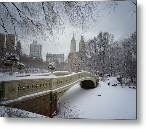 Landscape Metal Print featuring the photograph Bow Bridge Central Park In Winter by Vivienne Gucwa