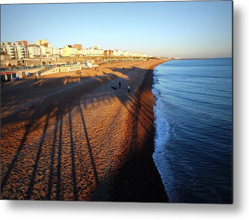 2010 Metal Print featuring the photograph Brighton Beach And Pier Shadow by Paul Chessell