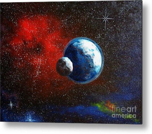 Astro Metal Print featuring the painting Broken Moon by Murphy Elliott