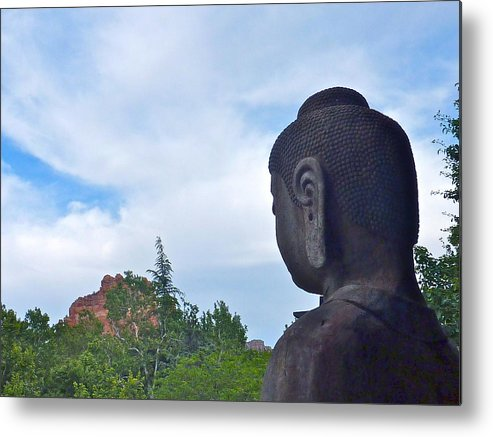 Buddha Metal Print featuring the photograph Buddha Statue In Red Rocks Az by Victoria Lakes