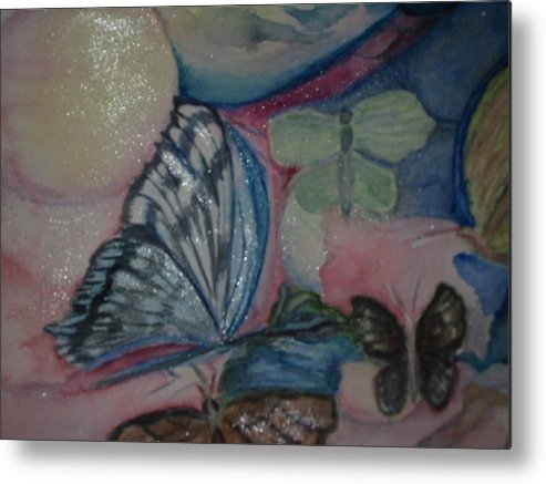Watercolor Butterflies Metal Print featuring the painting Butterflies And Spheres by Marian Hebert