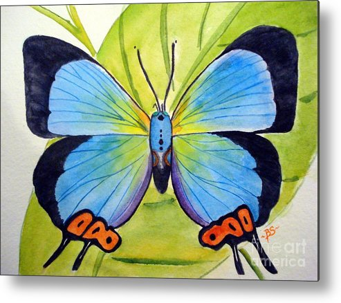 Butterfly Metal Print featuring the painting Butterfly 1 by Bonnie Schallermeir
