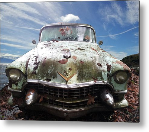 Old Cadillac Metal Print featuring the photograph Cadillac At The Beach by Mario Labonte