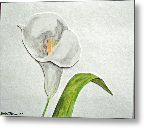 Callalily Metal Print featuring the mixed media Callalily Card by Sandy Tolman