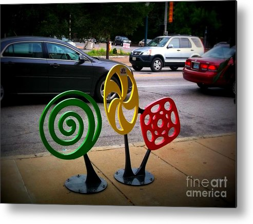 Metal Print featuring the photograph Candy Bike Rack In Lomoish by Kelly Awad