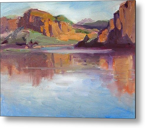Landscape Metal Print featuring the painting Canyon Lake Of Arizona by Mitzi Lai