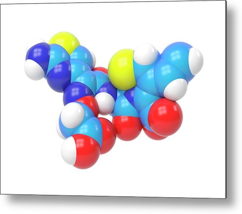 Antibacterial Metal Print featuring the photograph Cefixime Molecule by Indigo Molecular Images