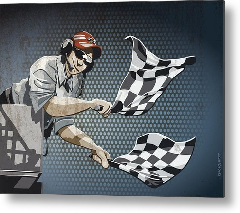 Racing Metal Print featuring the drawing Checkered Flag Grunge Color by Frank Ramspott