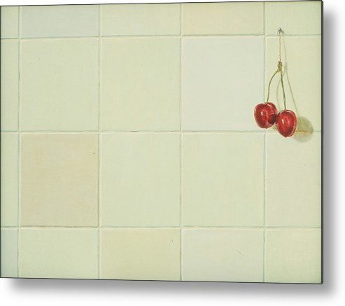 Still Life Metal Print featuring the painting Cherries by Raul Vargas