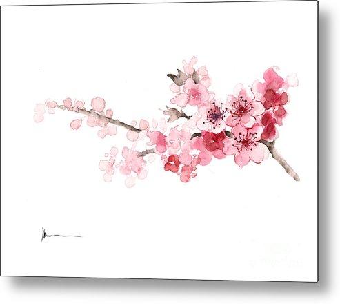Sakura Metal Print featuring the painting Cherry Blossom Art Print Watercolor Painting by Joanna Szmerdt