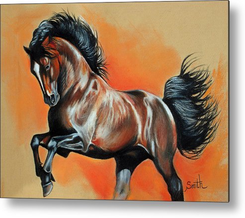 Horse Metal Print featuring the pastel Chocolate Bay by Valerie Yvette Smith