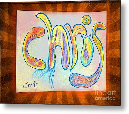 Names Metal Print featuring the digital art Chris by GOLDA Zehava TALOR