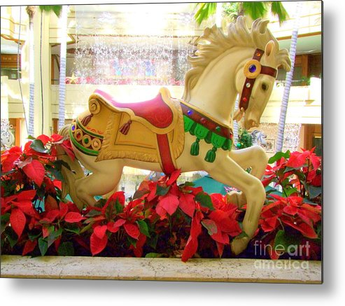 Carousel Metal Print featuring the photograph Christmas Carousel Horse With Poinsettias by Mary Deal