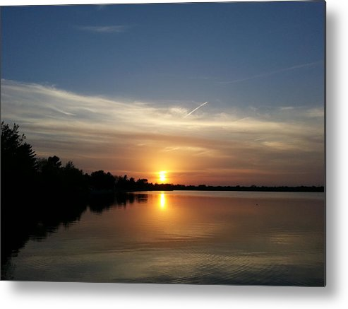 Lake Metal Print featuring the photograph Cirrus Sunset by Caryl J Bohn