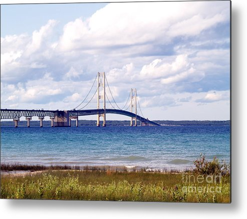 Bridge Metal Print featuring the photograph Clouds Over Mackinaw by Melissa McDole