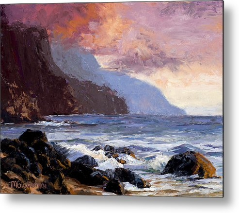 Ocean Metal Print featuring the painting Coastal Cliffs Beckoning by Mary Giacomini