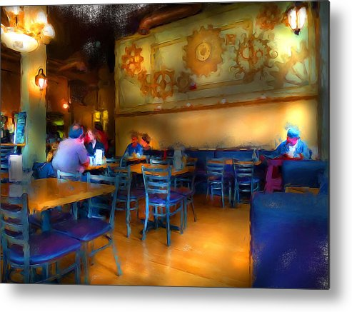 Coffe Metal Print featuring the digital art Coffee Stop by Cary Shapiro