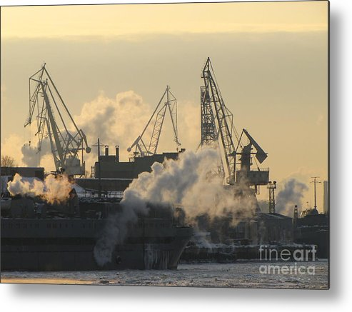 Work Metal Print featuring the photograph Cold Port Winter by Yury Bashkin