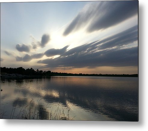 Lake Metal Print featuring the photograph Cold Sunset by Caryl J Bohn