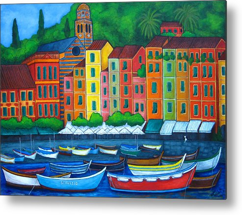 Portofino Metal Print featuring the painting Colours Of Portofino by Lisa Lorenz