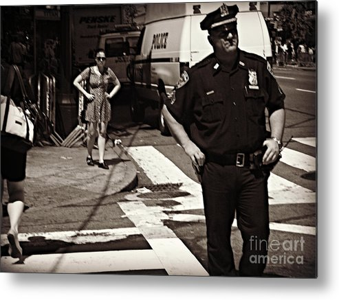 Police Metal Print featuring the photograph Cop And Girl - Mirror Image - New York City Street Scene by Miriam Danar