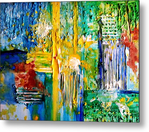 Abstract Metal Print featuring the painting Country Pastures by Nikki Dalton