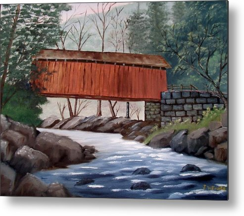 Red Covered Bridge Metal Print featuring the painting Covered Bridge by June Weaver