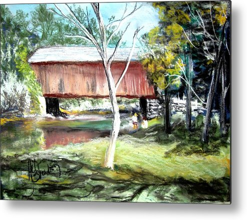 Covered Bridge Metal Print featuring the painting Covered Bridge Newport Nh by Art Stenberg