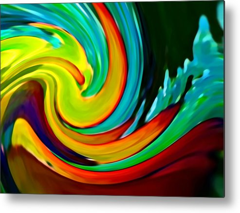 Waves Metal Print featuring the painting Crashing Wave by Amy Vangsgard