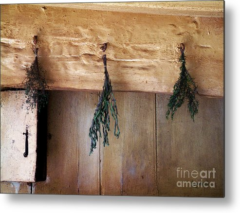 Herbs Metal Print featuring the painting Crossbeam With Herbs Drying by RC DeWinter