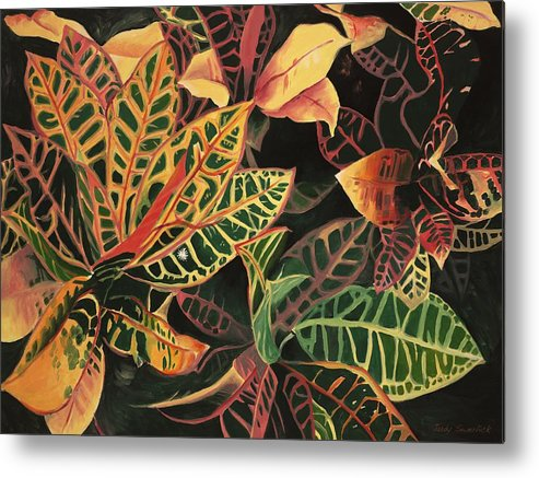 Croton Leaves Metal Print featuring the painting Croton Leaves by Judy Swerlick
