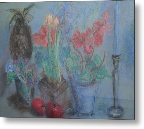 Pastel Metal Print featuring the pastel Dancing Still Life In Pastel by Patricia Kimsey Bollinger