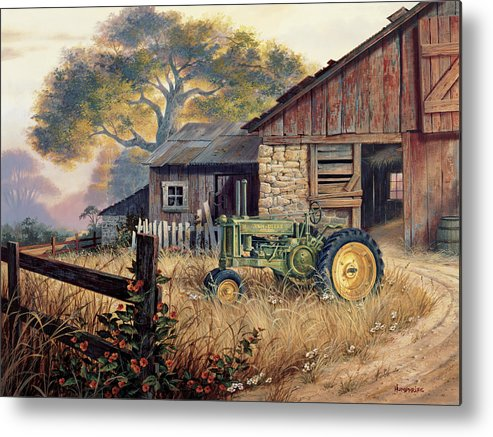 Landscape Metal Print featuring the painting Deere Country by Michael Humphries