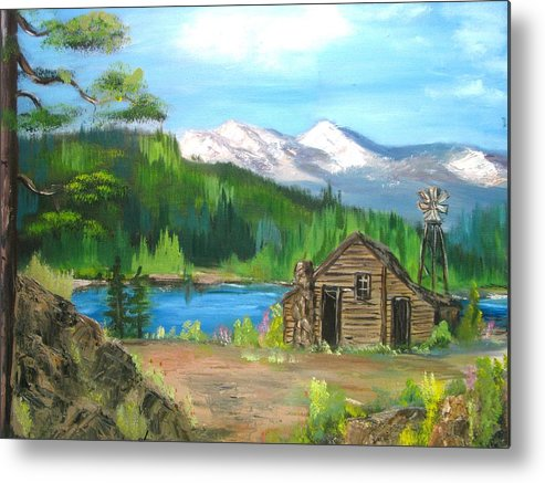 Cabin On Lake Metal Print featuring the painting Deserted Cabin by Judi Pence