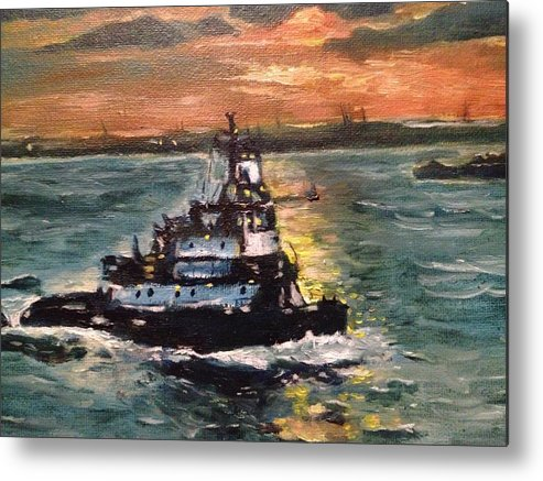 Boat Metal Print featuring the painting Detail Of Tugboat In Upper New York Bay by Victor SOTO