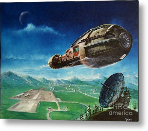 Landscape Metal Print featuring the painting Did You Call by Murphy Elliott