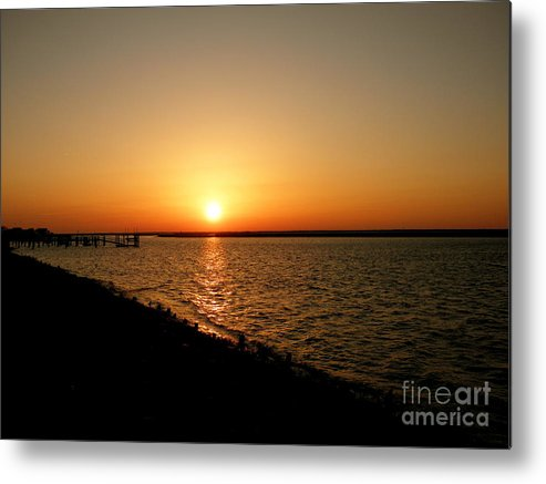Dock Metal Print featuring the photograph Dock On The Bay Sunset by Sharon Woerner