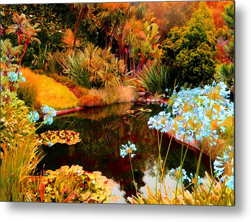 Garden Metal Print featuring the painting Enchaned Blue Lily Pond by Amy Vangsgard