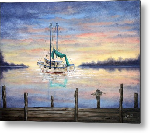Seascape Metal Print featuring the painting End Of The Day by Ruth Bares