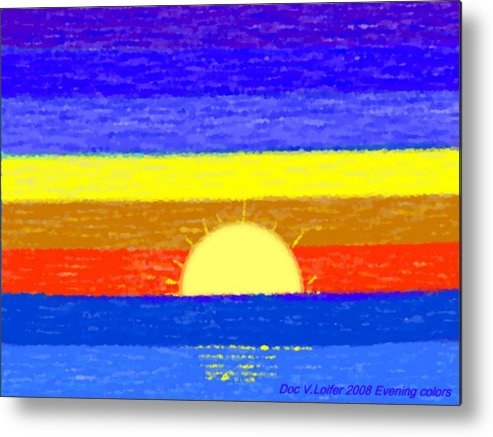 Evening.sky.stars.colors.violet.blue.orange.yellow.red.sea.sunset.sun.sunrays.reflrction. Ater. Metal Print featuring the digital art Evening Colors by Dr Loifer Vladimir