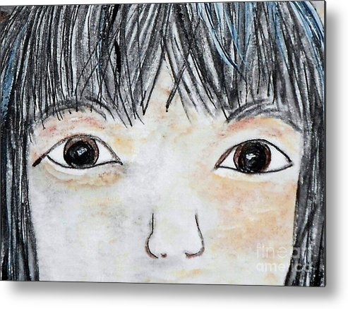 Big Metal Print featuring the painting Eyes Of Love by Eloise Schneider