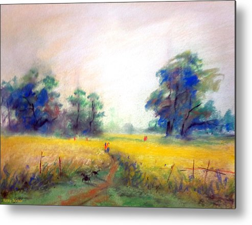 Landscape Metal Print featuring the painting Far Away by Rinky Upadhyay