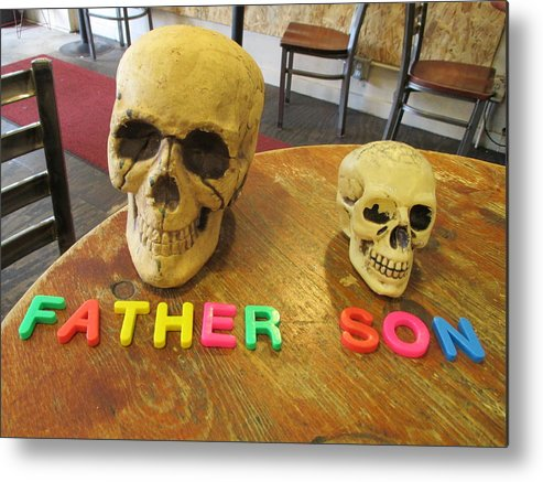 Father Metal Print featuring the photograph Father And Son - Toy Skulls At The Cafe by David Lovins