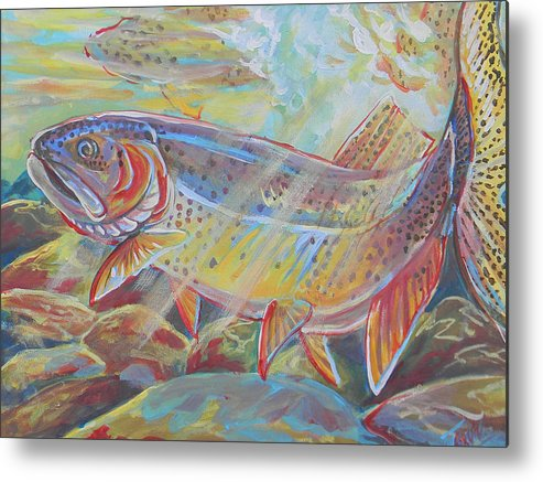Fish Metal Print featuring the painting Fine Spotted Cutthroat Trout by Jenn Cunningham