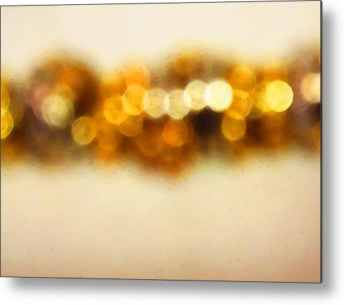 Buy Metal Print featuring the painting Fire Dance - Warm Sparkling Abstract Art by Sharon Cummings