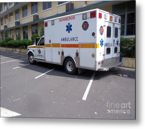 Ambulance Metal Print featuring the photograph Fire Department Ambulance by Vladimir Berrio Lemm