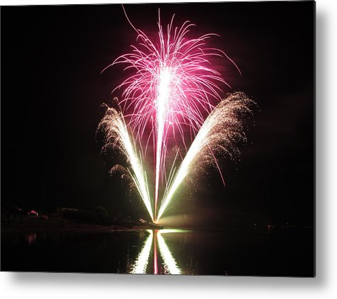 Garrison Cove Metal Print featuring the photograph Fireworks At Cooks by Donnie Freeman