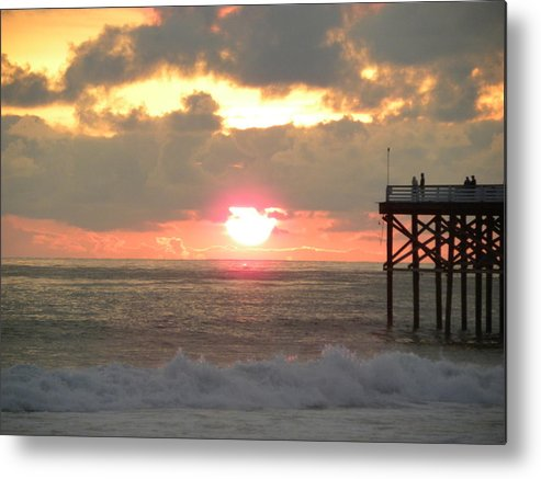 Seascape Metal Print featuring the photograph Firey Sky At The Pier by John Wilson
