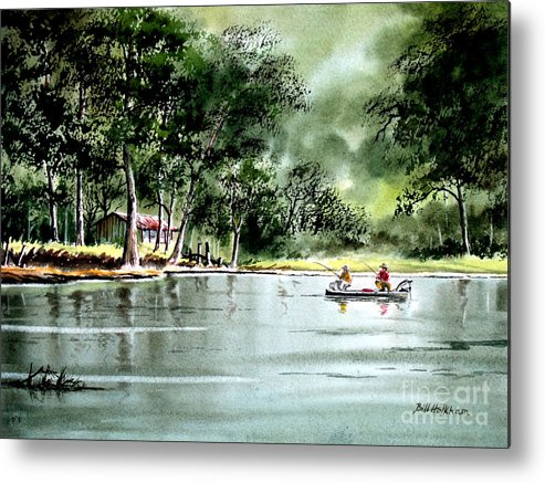 Fishing Metal Print featuring the painting Fishing On Lazy Days - Aucilla River Florida by Bill Holkham